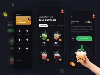 Juice : Drink : Cocktails Shop App app designer modern juice mocktail productdesign branding app design juice bar cocktail bar juices drink menu