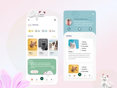 Adopet | Pet Adoption App | Pet Community app design figma design adopt cats ui modern clean  creative concept minimal animals cat petcare pet adoption app uiux animal care pet