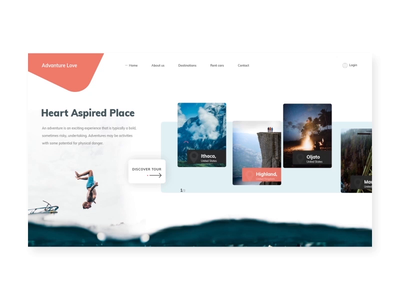 Adventure Love clean design landing page ux uiuxdesign uidesign website design ui adventure website animation clean  creative webdesigner design modern branding clean after effects after effects animation creative master creationz