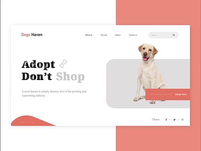 Adopt Dog pet lover adoption adopt dog dog adopt ui landing page uidesign website design clean  creative website animation design modern webdesigner branding clean after effects animation after effects