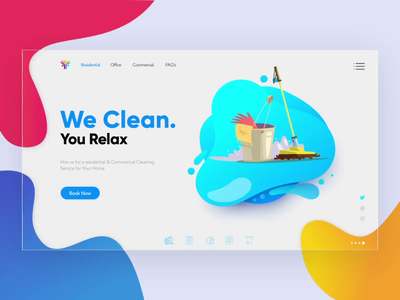 Cleaning Up: Time to Clean. time to clean clean  creative modern landing page website design website animation ui webdesigner branding clean design after effects animation after effects
