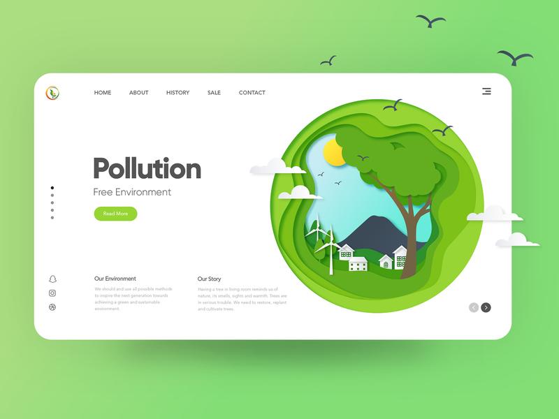 Pollution Free Environment pollution environment uidesign brand design uiuxdesign landing page website design clean  creative webdesigner ui modern design clean branding