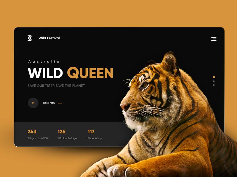 Wild Queen: Wild Festival queen tigers landing page brand design website animation webdesigner website design clean  creative ui modern design clean branding