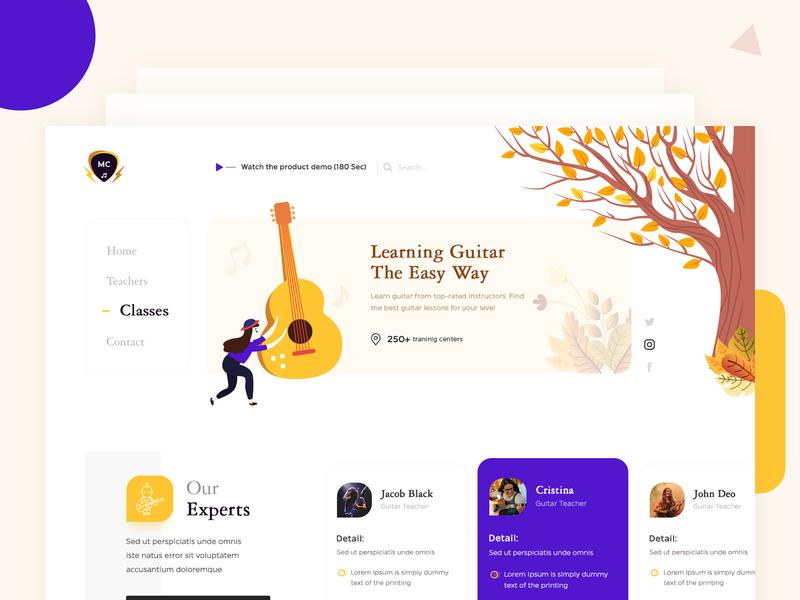 Learn Guitar Home Page Concept ux uiux uxdesign learn guitar guitarist guitar ui uidesign website design landing page webdesigner clean  creative modern design clean branding
