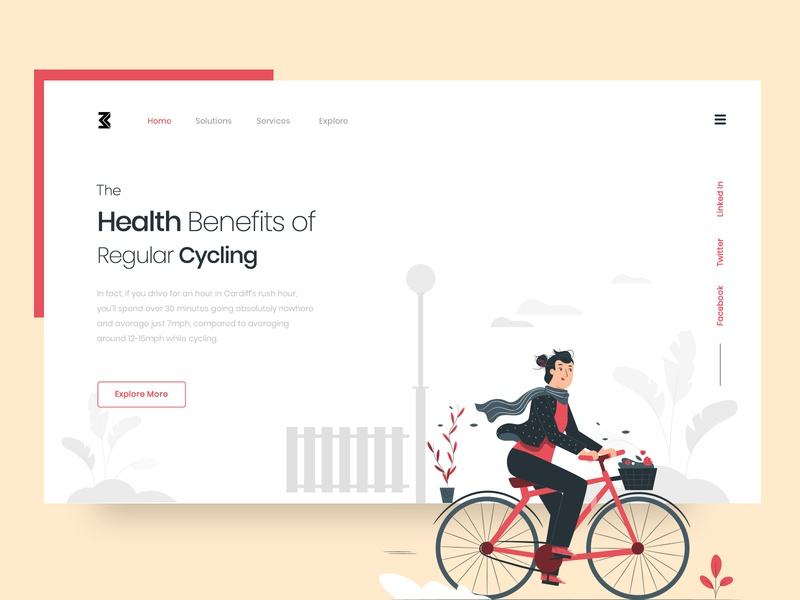 Cycling Landing Page stayfit cycling healthbenefits health uiuxdesign uidesign website design landing page webdesigner clean  creative modern design clean branding