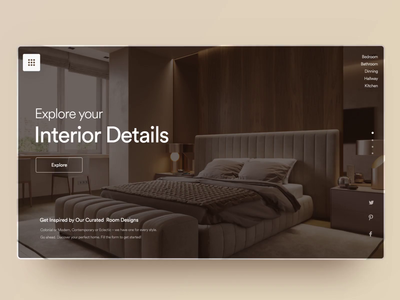 Explore your Interior: Landing Page explore webpagedesign aftereffects bedroom interior uiuxdesign uidesign website design landing page webdesigner clean  creative clean modern design branding