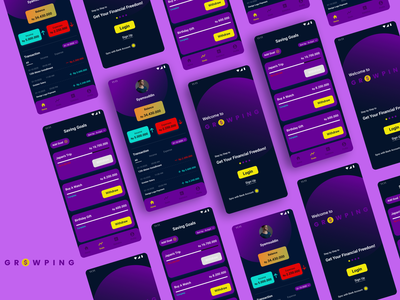 GROWPING Money Management App finance finance app banking graphic design clean ui app ux ui typography icon flat design branding