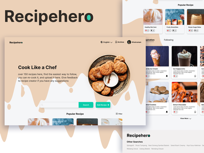 Recipehero-A Website That Help You Find Easiest Way to Cook cooking website minimal graphic design clean ui app ux ui typography icon design branding