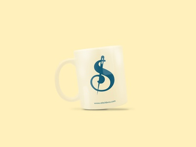 Stitch Bros Coffee Mug s monogram clothing company clothing brand clothing logo simple symbol needle cup coffee cup brand identity clothing design creative iconography blue yellow graphic design illustration dribble brand design behance