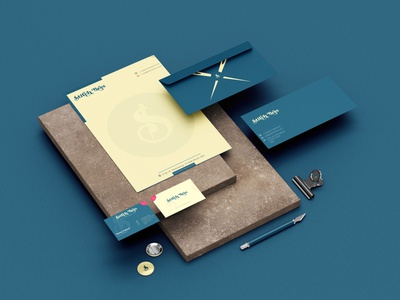 Stitch Bros Stationery presentation design premium letter head visiting card visitingcard sticker envelope stationary stationery coffee cup branding yellow blue graphic design clothing design dribble brand design illustration behance