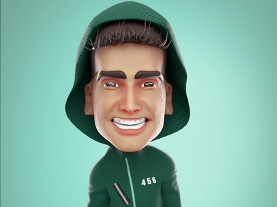 How'z our player number 456 is looking? 3d 3d illustration graphic design 3d cartoon design illustration 3d character model 3d character art animation moneyheist squidgame