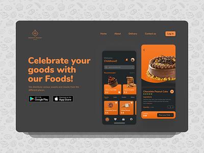 Bakery App Landing Page swipe mode food ecommerce webdesign inspiration dark landingpage homepage design minimal trend ui figma vector 3d apple dribbble