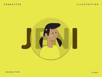 Flat Character Illustration - JENI yellow digitalart face graphic design character glassmorphism 3d art label sticker flat sketch minimal illustration dribbble vector figma design