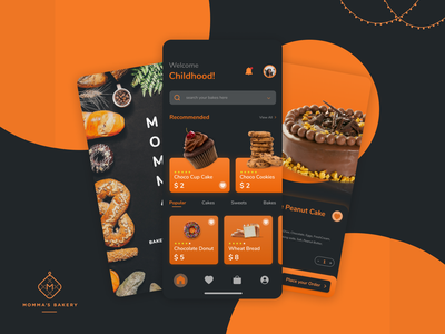 Bakery App UI design wireframes design freefonts android mockup swatched icons inspiration tools link pattern figma