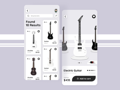 Musical Instrumental app UI design branding frrefonts andriod mockup swatched icons insiration tools pateern link graphic design design figma