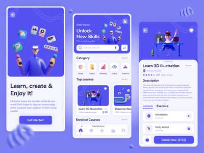 E - Learning app UI design cta screen interface course uisquirrel challenge ui minimal illustration dribbble figma design 3d learning