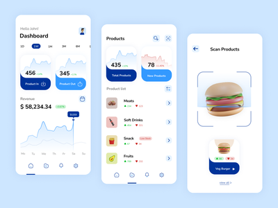 Store Inventory App UI design growth rate revenue inventory cleanui blue market stock storeinventory store ux ui illustration dribbble figma design