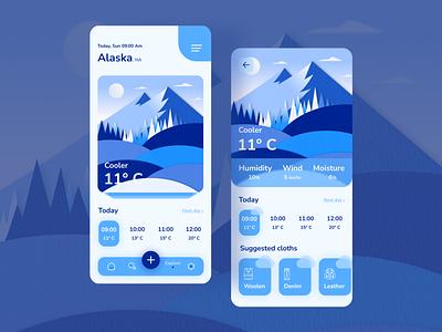 Weather app UI design graphic design 3d design dribbble papercutillustration illlustration papercut figma minimal clean cool climate alaska ui weatherui weatherapp