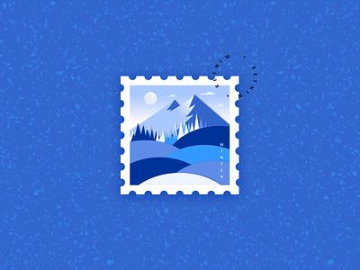 Stamp Illustration effect papercut freebie mountain blue snow winter nature stampillustration stamp logo vector minimal illustration dribbble figma design
