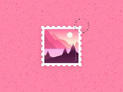Stamp Illustration (Autumn) ux sun moon nature simple pink stamp autumn branding figma logo vector ui minimal illustration dribbble design