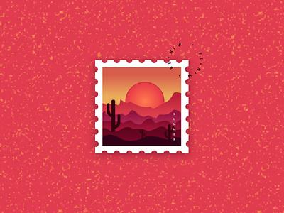 Stamp Illustration hot red effect papercut texas summer stamp logo vector minimal illustration dribbble figma design