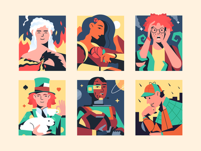 Book time is coming! daenerys hatter sherlock library branding character graphic design book illustration ui