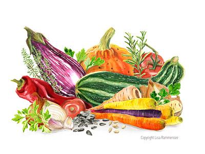 Love from my Garden botanical illustration garden ingredients veggies vegetable foodillustration food and drink illustration