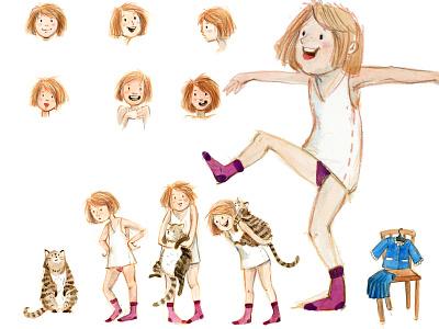 Characterdesign Girl childrens books watercolour analog kids art children characterdesign illustration