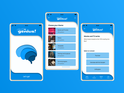 "Mobile quiz app ""I'm - genius"" illustration quiz mobile design mobile app game design game typography ux ui design"