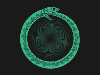 Ouroboros Snake abstract design vector illustration