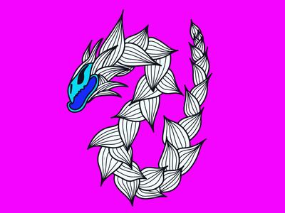 Paper Dragon optical konan mandala flow design paper art abstract illustration