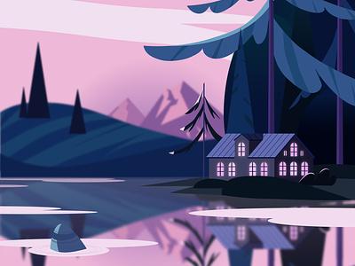 Закат у озера illustrator vector illustration