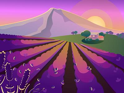 Пейзаж иллюстрация векторная графика горы закат пейзаж лаванда
