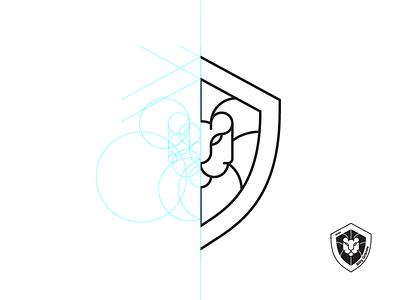 Lion-shield grid shield lion logotype brand logo