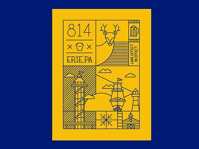 Hometown Illustration type hometown blue gold line vector poster illustration pennsylvania erie