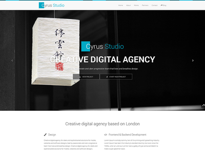 Theme design for Cyrus Studio bootstrap give away website minimalist creative agency