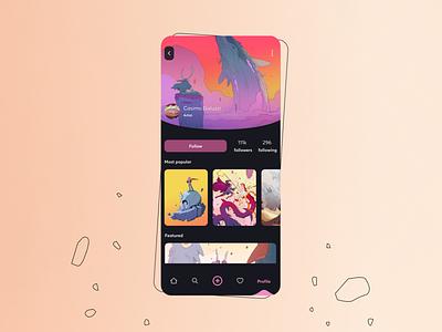 Social media for artists concept sketch profile social media mobile art direction illustration artist ui