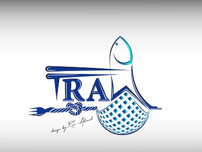 Fish - seafood logo - Trawl typography fishing company logos fork restaurant logo brand identity design illustration vector branding logo graphic design