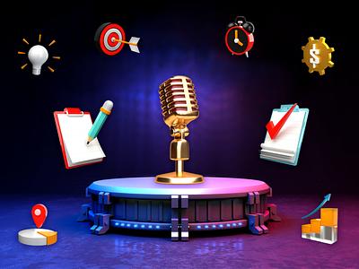 Music On 3D Blender leadership concept website design gold foil gradient color color palette ideaware smoothie 3d artist concept design ux blender 3dmodeing 3d smooth animation dribbble best shot ui design 3d animation