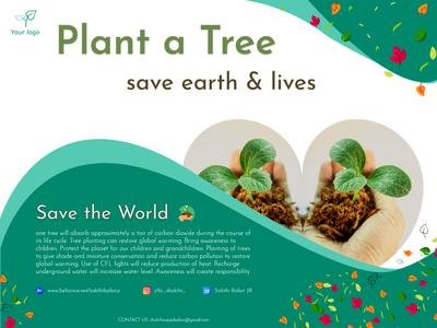 Plant a Tree - Save the World paragraph love earth green dribbble design of the day product design world plant tree save vector design dribbble best shot app website banner poster quotes motivation