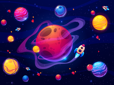Cartoon Colorful Galaxy motion graphics graphic design adobexd waves layers idea concept cartoons colorfull planets galaxy illustration dribbble designoftheday productdesign photoshop website mobile uiux vector