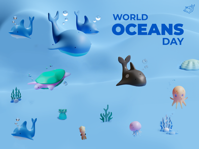 World Ocean Day Special - Render banner product sea cool render blender 3d animation dribbble app website logo 3d animation smooth animation ux ui dribbble best shot design