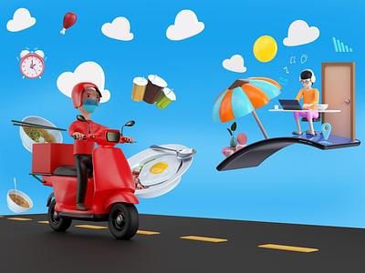 Sky Food Delivery delivery food banner graphic design illustration branding 3d animation ux smooth animation design dribbble best shot ui app website animation photography photoshop blender render 3d