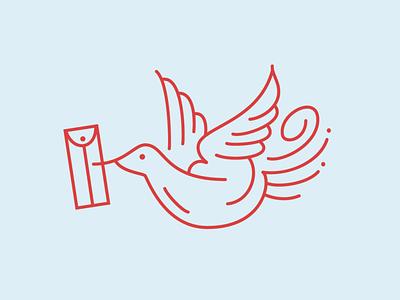 Postal bird design logo illustration