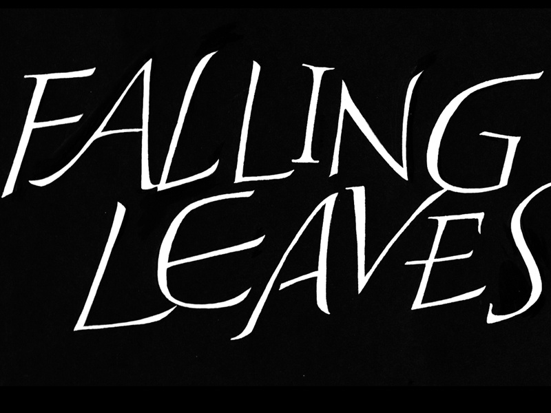 Falling Leaves roman letters calligraphic hand lettered calligraphy hand lettering pointed brush