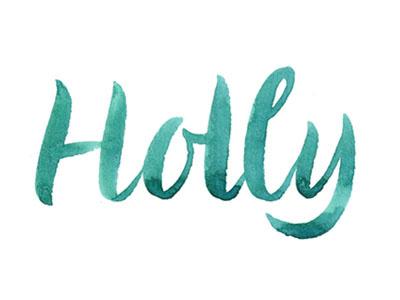 Holly's birthday brush lettering lettering handlettering watercolor
