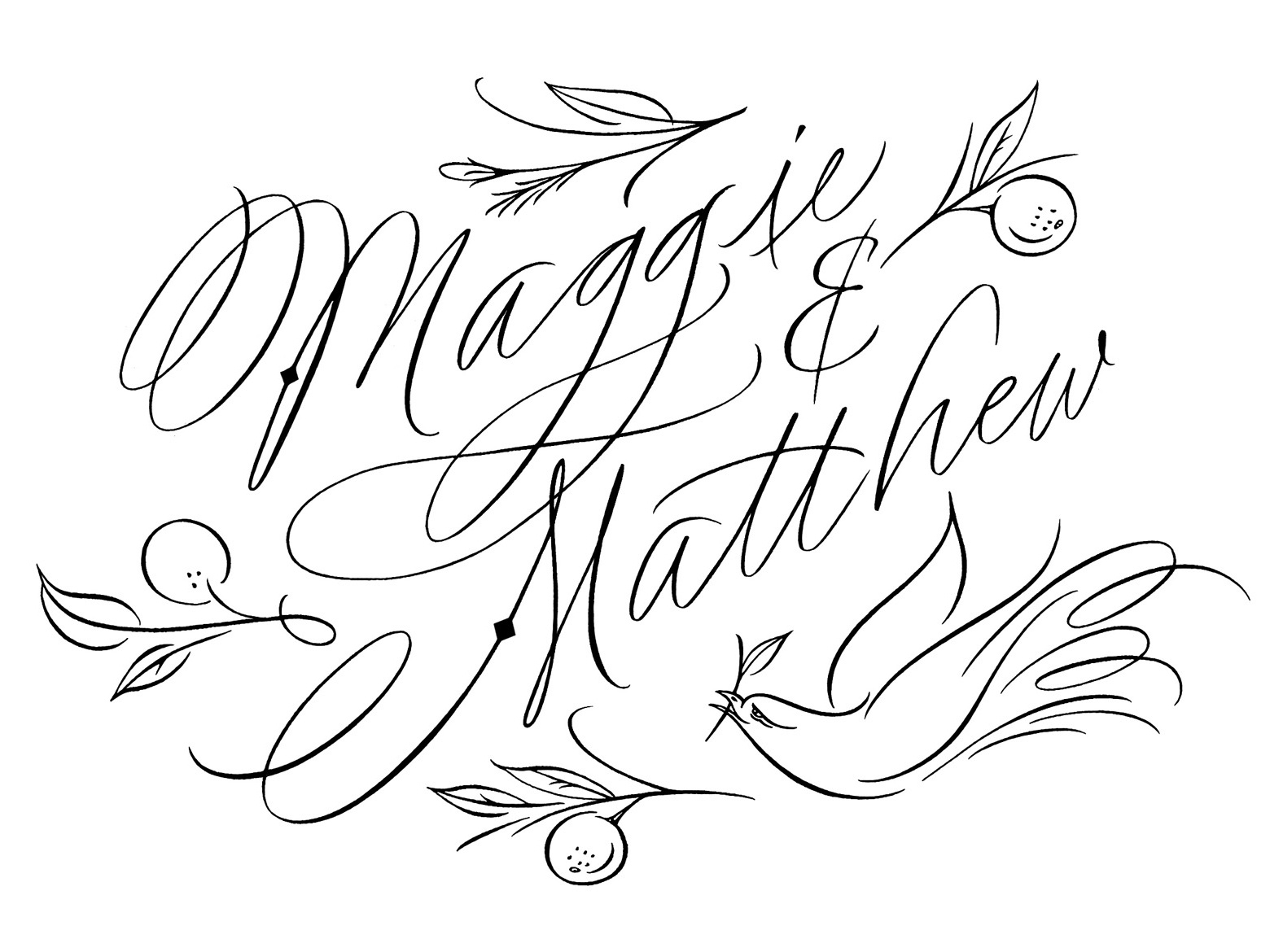 Maggie and Matt design illustration hand-lettering hand lettering calligraphy