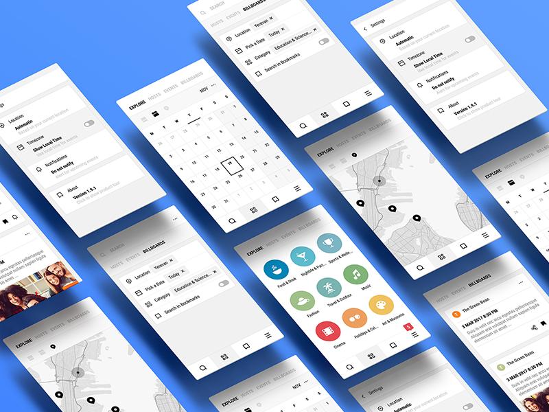 Perspective App Screens minimal ux ui mobile material iphone ios interface andoid