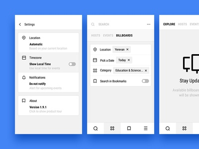Settings, Search & Billboards andoid interface ios iphone material minimal mobile ui ux