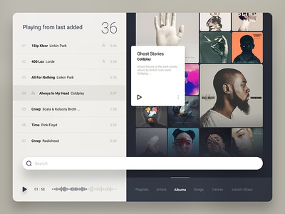 player UI ux ui player music material artwork album